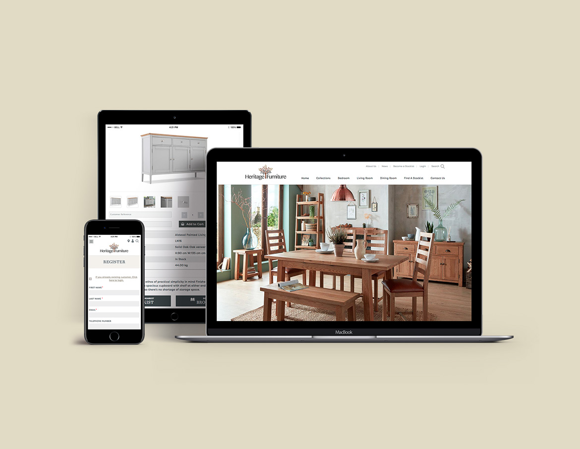 heritage furniture website mockup