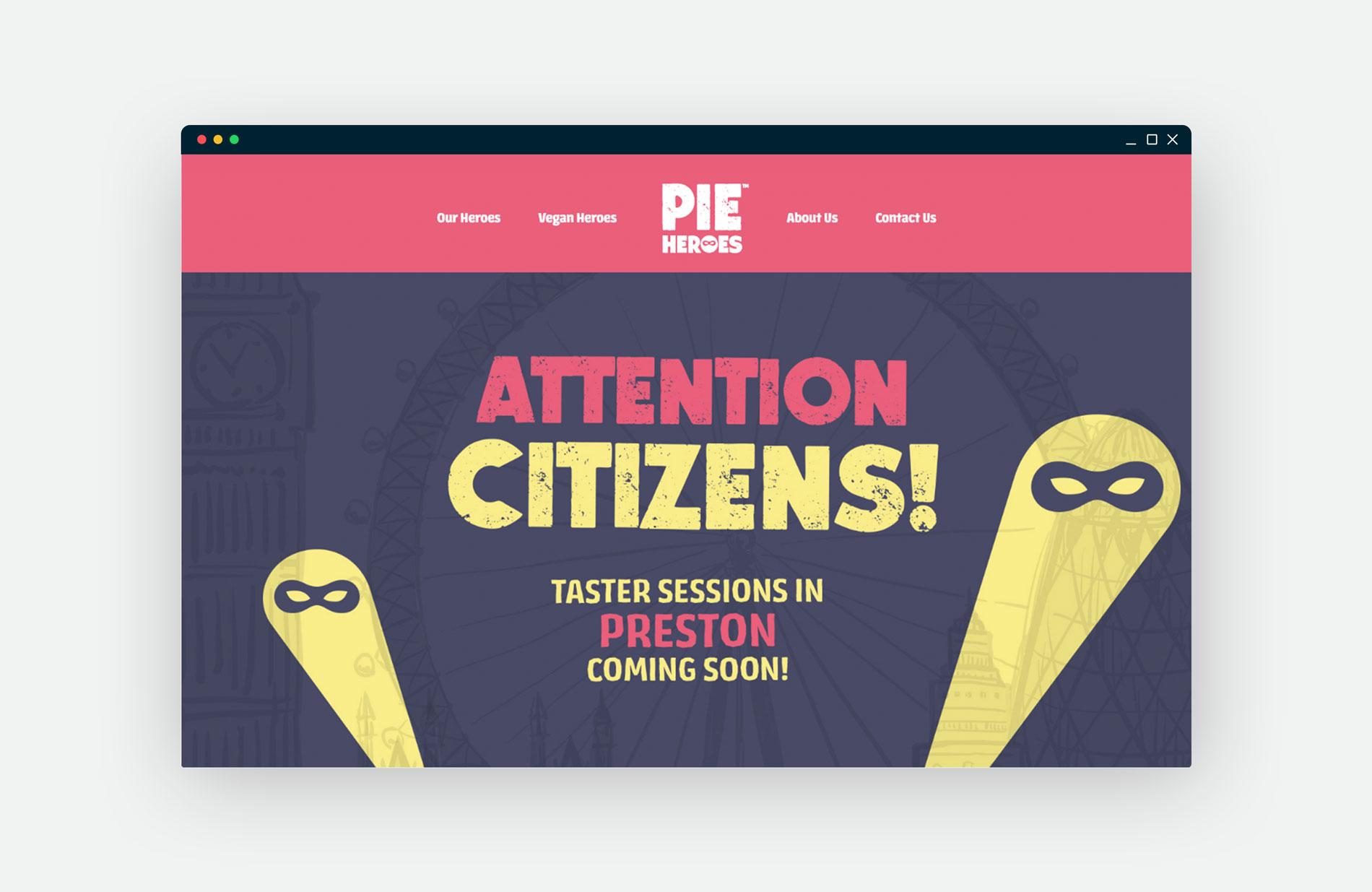 Pie Heroes Website Mockup